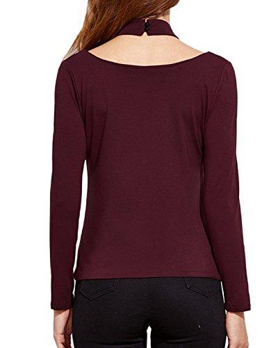 ZANZEA Damen Langarm Oversize Party Club Slim Elegant Tunika T-Shirt Oberteil Tops Wein Rot