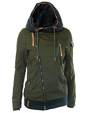 Femme Sweats à Capuche Zippé Blouson Veste Manteau Hoodie Tops Vert M