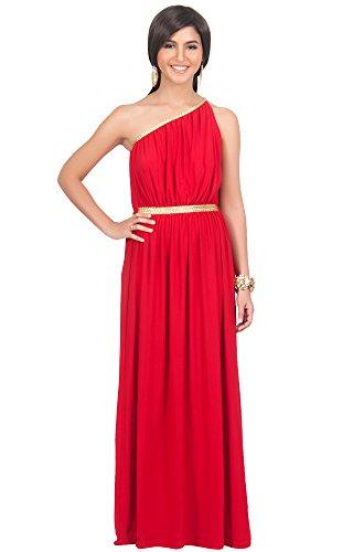 Kostüme Valentine Plus Size (KOH KOH® Plus Size Damen Schulterfrei Cocktail Maxikleid Griechische Göttin Elegantes Abschlussfeier Kleid, Farbe Rot, Größe XXL / 2X Large)