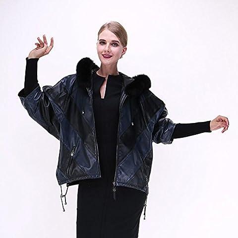 ZZHH costura de cuero de piel de oveja chaqueta con capucha del abrigo de pieles de las mujeres . xxxl