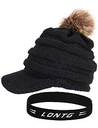 727dfd33afba0 IBLUELOVER Gorro de Lana para Mujer Gorro Plano Sombrero Visera Gorros de  Invierno Sombreros con pompón