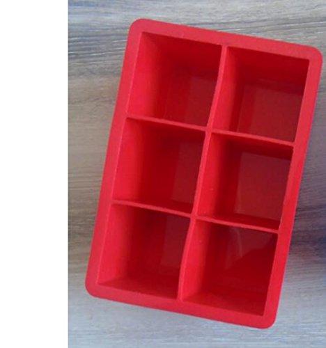 LASISZ 16,5 * 11,5 * 5 cm/DIY Kreative Große Eiswürfelform Quadratische Form Silikon Eiswürfelschale Obst Eiswürfelbereiter Bar Küche Zubehör, rot Red Margarita-set