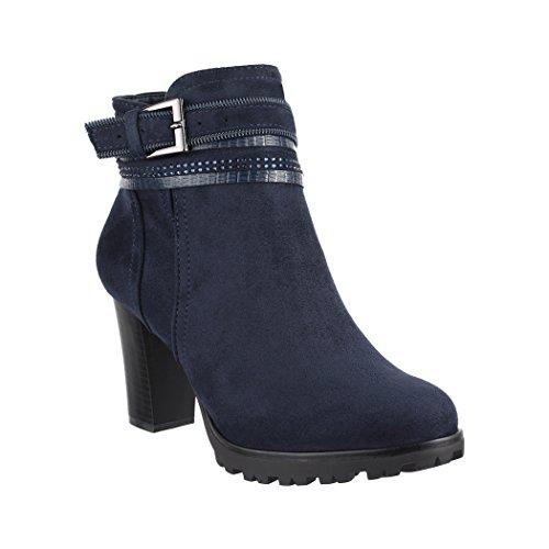 Elara , Boots Chelsea Femme - Bleu - DK.Blau, 38 EU