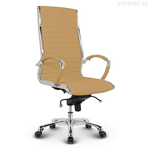 VERSEE Design Bürostuhl Chefsessel Montreal -- Echt-Leder -- ocker -- Drehstuhl, Bürodrehstuhl, Schreibtischstuhl, Chefstuhl, Ergonomisch, hohe Rückenlehne, mit Armlehnen, auf Rollen, mit Polsterung, Höhenverstellbar, Wippfunktion, Designklassiker, hochwertige Verarbeitung, massives Metall-gestell, Chrom Büro Sessel, Stuhl, 150 kg belastbarkeit