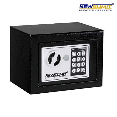 NEWSUMIT - Caja Fuerte Electronica con Llaves para Hogar, Oficina - Empotrable en Pared o Suelo 23x17x17cm...