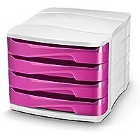 CEP Gloss - Módulo con 4 cajones, color blanco y rosa
