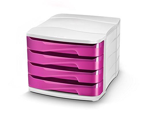 CEP 1003940371 Schubladenbox 4 Schübe Gloss 394 G, pretty pink/weiß