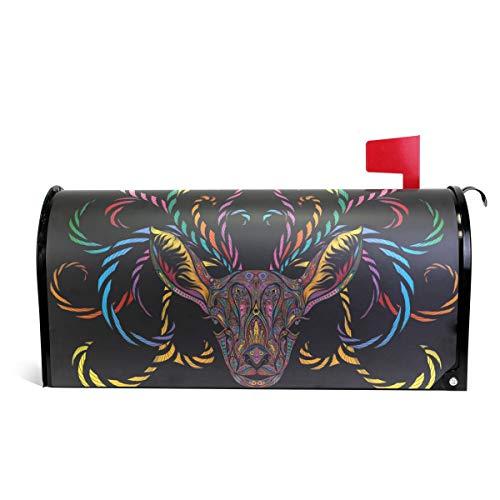 senya magnétique Grande Taille Boîte aux Lettres Coque Couleur Renne avec Branching Cornes, surdimensionné 25.5x20.8 inch Multicolore