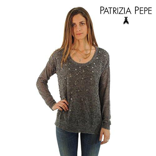 Patrizia Pepe maglione donna in lana collo alto 2M2686AM38 (2, NERO)