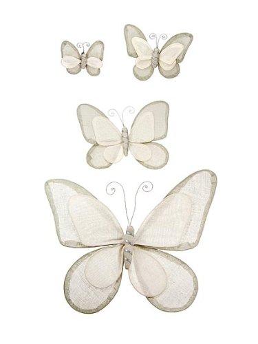 Schmetterlings-Maedchenzimmer oder Spielzimmer, (Packung mit 4 Klein, Medium, Gross & Extra Gross) Creme & Braun farbende Schmetterlings- Bettwäsche von Mousehouse Gifts
