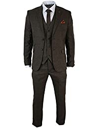 Costume hommes 3 pièces tailored fit brun Style rétro vintage Harris tweed carreaux