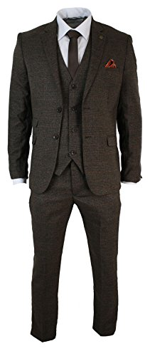 Mens-Tailored-Fit-3-Piece-Tan-Brown-Check-Herringbone-Tweed-Suit-Vintage-Retro
