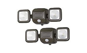 Mr. Beams MB3000haute performance, sans fil, alimenté par piles LED, Détection de mouvement, Sécurité à faisceaux lumineux double tête, 500lumens, Plastique, marron, Lot de 2