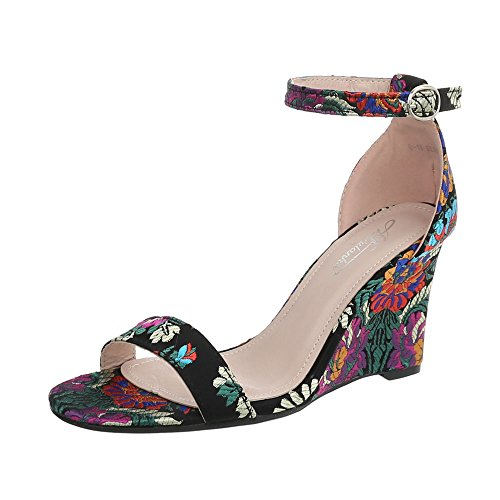 Ital-Design Keilsandaletten Damen-Schuhe Keilabsatz/Wedge Keilabsatz Schnalle Sandalen