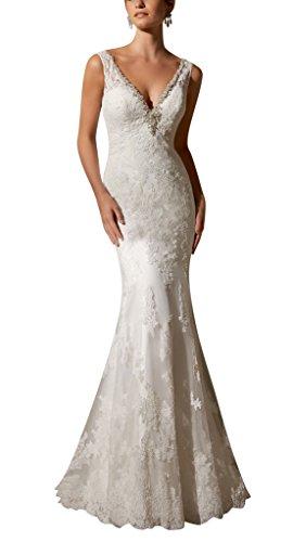 GEORGE BRIDE Applique spitze engen V-Ausschnitt Brautkleid Weiß