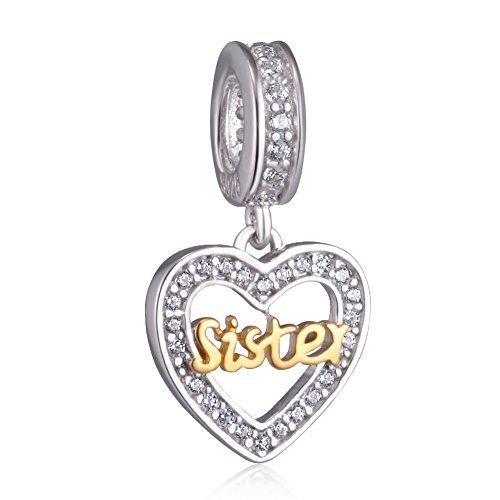 Beste-Freunde-Herzanhänger, 925-Sterling-Silber, passend für Pandora-Armbänder und Halsketten. Sister gold