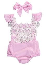 2pcs Newborn Baby Girl Backless Summer Romper +Headband Bodysuit Outfits (3-6M, Pink)