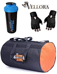 VELLORA Polyester Long Lasting Material Duffel Gym Bag (Orange) With Thunder Boost Shaker, Gym Shaker Bottle Blue...