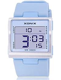 Reloj electrónico digital de múltiples funciones de los ni?os,Plaza jalea led 100 m resina resistente al agua alarma cronómetro hora dual chicas o chicos moda reloj de pulsera-A