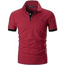 STTLZMC Polo para Hombre de Manga Corta Casual Moda Algodón Camisas Cuello  en Contraste Golf Tennis d5d01304e82f0