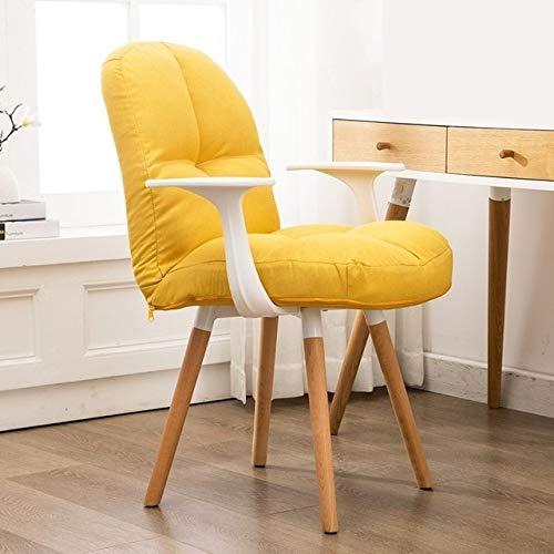 Silla de oficina amarilla de diseño tapizada con patas de madera de haya