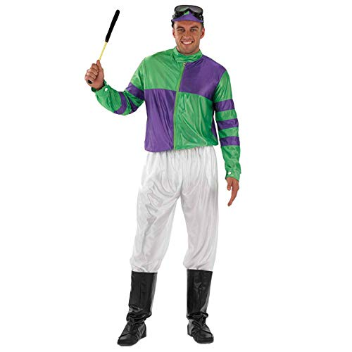 Fun Shack Herren Costume Kostüm, Jockey Green & Purple, L (Jockey Kostüm Für Erwachsene)