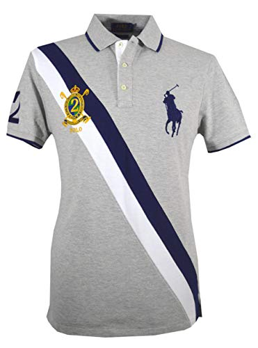 Big Pony Shirt (Ralph Lauren Herren Polo - Custom Slim Fit - Grau - Big Pony (L))