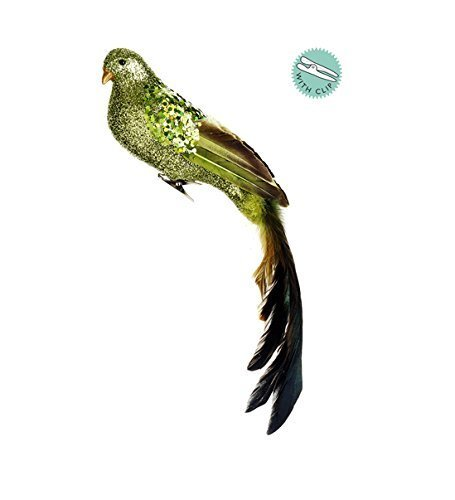14-green-glitter-drenched-clip-on-bird-christmas-ornament-with-feathers-by-allstate