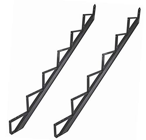 2-6 Stufen Treppenwangen Alu Treppenrahmen Schwarz