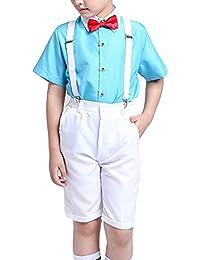 GladiolusA Traje Conjunto para Niño 4 Piezas Camisas De Manga Corta + Pantalones  Cortos + Pajarita 21fe8117c047