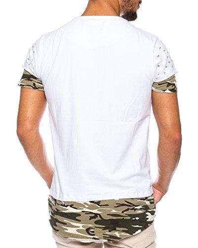 CRSM by Carisma Carisma Herren T-Shirt Designer Mode Men's Wear Stylisches Sommer T-Shirt Dirty-Oil Camouflage Design verschiedenes Styles und Farben T-4378 White