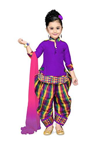 Aarika Girl's Self Design Cotton Silk Ethnic Kurti, Patiala and Dupatta Set...