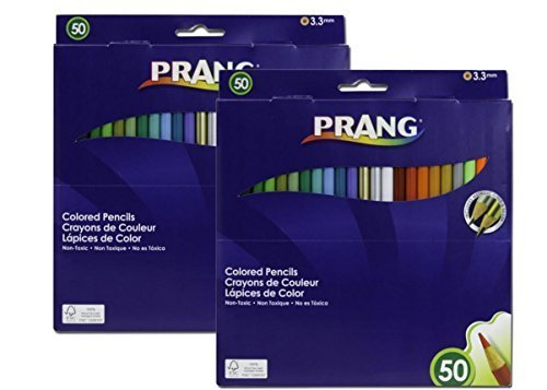 Prang Thick Core Colored Pencil Set, 3.3 Millimeter Cores, 7 Inch Length, 50 Pencils, Assorted Colors (22480)(2Pack) by Prang