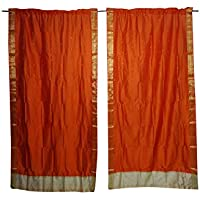Mogul Interior Indian Sari Curtain Drape Orange Window Treatment Brocade Border Home Decor 84 inch