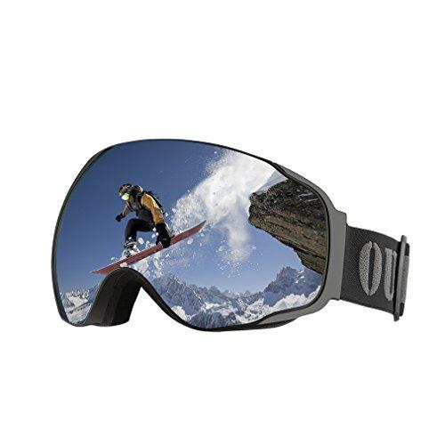 Maschera da sci per uomo e donna,outad staccabile lente anti-nebbia/vento 3 strati bolle 100% protezione uv400 large frameless occhiali snowboard,telaio curvabile per portatori di occhiali