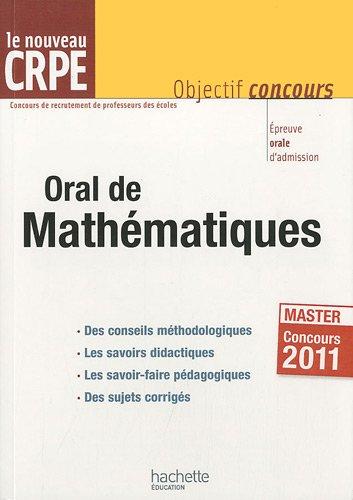 Orale de Mathématiques : Epreuve orale d'admission CRPE