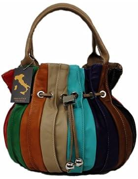 Italy Beutel Tasche Ledertasche XL Shopper Schultertsche MULTICOLORE Leder 01820