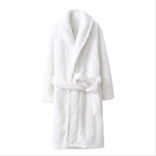 LDRENF Modische 2019 Kinder Bademäntel Winter Kinder Bademantel einfarbige Flanell Badewachsen für Big Boys Mädchen weichen Gürtel Pyjamas 14 weiß -
