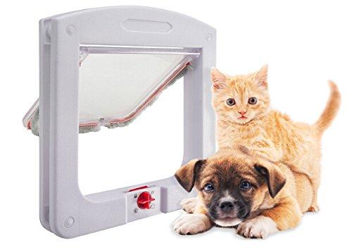 UPP Katzenklappe 4-Wege | Einfache Haustier Tür für Hunde & Katzen bis ~7 kg | Installation direkt an Tür, Holz, Kunststoff oder Mauerwerk -