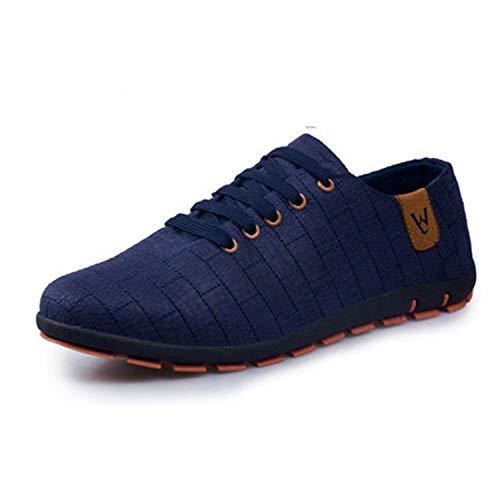 Spring/Summer Men Shoes Breathable Mens Shoes Casual Fashio Low Lace-up Canvas Shoes Flats Zapatillas Hombre Plus Size 47 Dark Blue 45