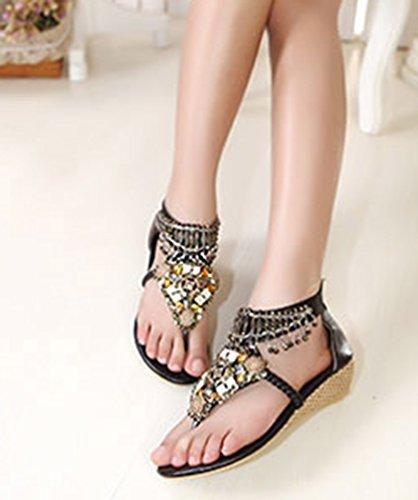 NiSeng Donna Strass Scarpe Boemia Clip Toe Sandalo Estate Moda Vintage Strass Perline Sandali Scarpe Con Zeppa Nero