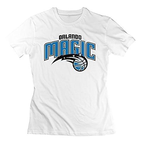 Yrewer BigRich Women's Orlando Magic Team Basic Logo Crew-Neck T-Shirt White