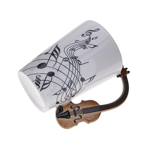 Kompassswc Keramik Kaffeetasse Lusitig Geige Henkel Porzellan Tasse Musik-Note Bedruckt Teetasse...