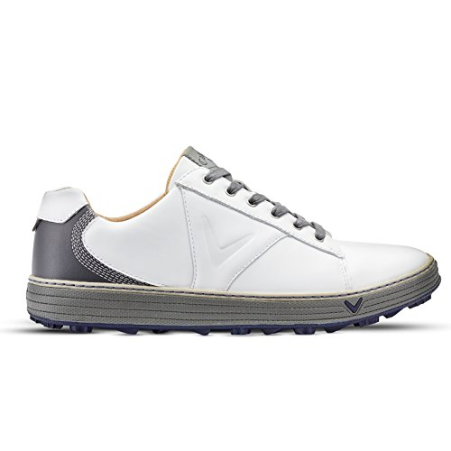 Callaway Golf 2018 Hommes Del Mar Série Retro Spikeless Golf Chaussures White/Charcoal 8UK