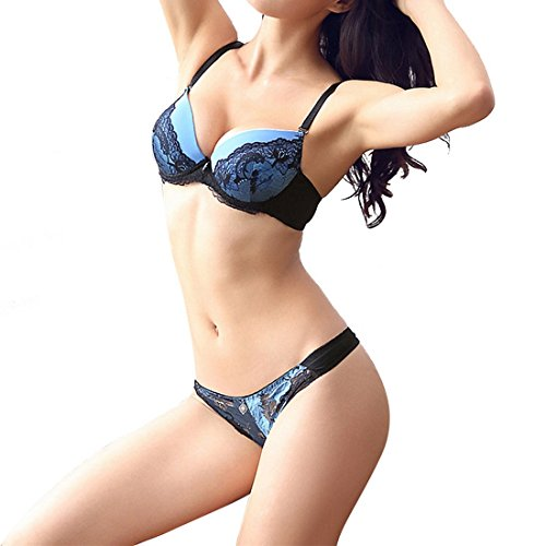 *Vertvie Damen BH Set Spitze V Push Up Bügel BH Bra und Slip Dessous Sets Unterwäsche Lingerie Set (85B, Blau)*