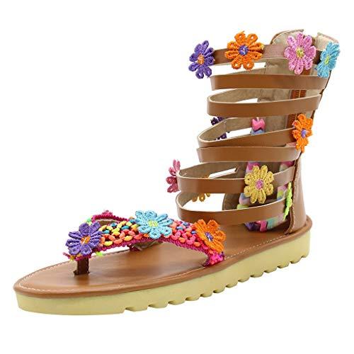 BURFLY Damen Sommer Sandalen Südostasien Römischer Wind handgefertigte Blumen Zehenrücken Reißverschluss Strandschuhe