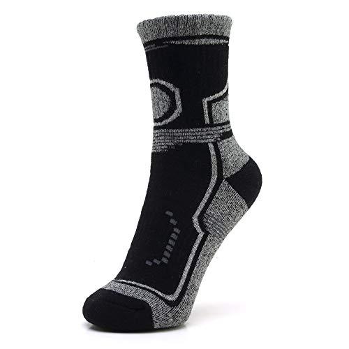 WADUANRUN Herren Milano Adult Socks/Professionelle Outdoor Camping Wandern Wandern Socken Männer und Frauen Dicke Handtuch Socken schwarz M (35-40)