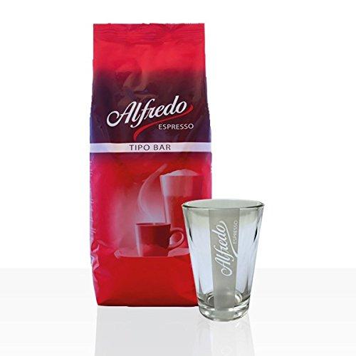 Darboven Alfredo Tipo Bar Espresso Bohne 1kg + Latte Macchiato Glas -