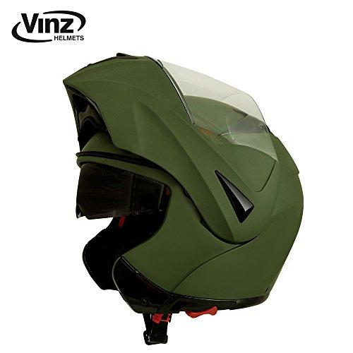 Vinz Klapphelm mit Sonnenblende | Army Grün | Motorrad Helm Integralhelm | Motorradhelm Pinlock...