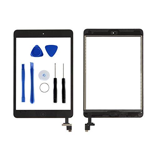 Dazone Mini 1 2 Display Touchscreen Digitizer Panel Glas Ersatzteile Vorderer 7.9 Inch Bildschirm mit IC Chip Home Button und Werkzeugset für A1432 A1454 A1455 A1489 A1490 A1491 (Schwarz) (Ipad 4 Ersatz-bildschirm)